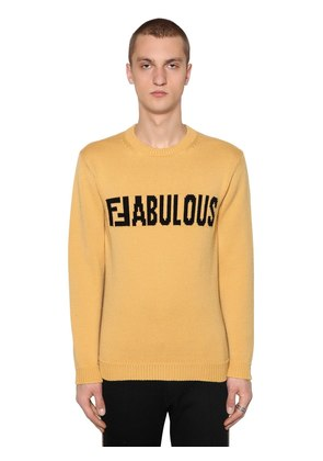 TWO TONE FFABULOUS WOOL INTARSIA SWEATER