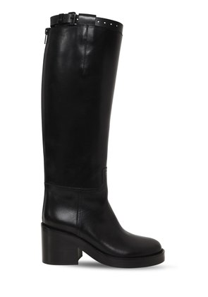75MM BRUSHED LEATHER RIDING BOOTS