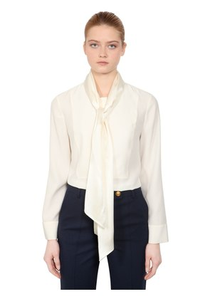 SILK SATIN BLOUSE WITH BOW COLLAR