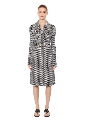 T PRINTED VISCOSE & SILK SHIRT DRESS