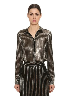 SEQUINED SHEER GEORGETTE SHIRT