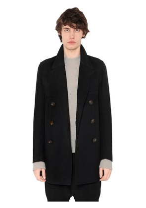 DOUBLE BREASTED WOOL BLEND PEACOAT
