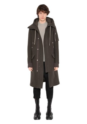 HOODED BOILED WOOL LONG PARKA