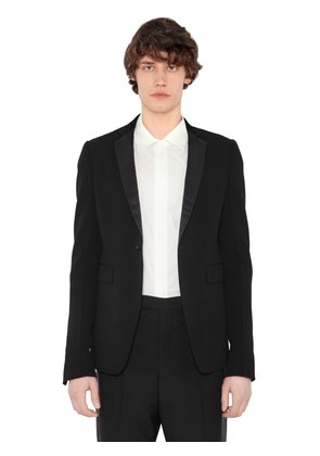 VIRGIN WOOL CREPE JACKET W/ SATIN LAPELS