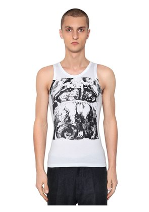 PRINTED COTTON JERSEY TANK TOP