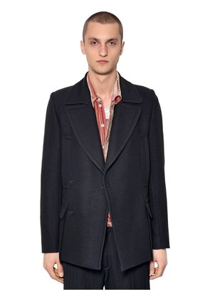 DOUBLE BREASTED WOOL & SILK PEACOAT