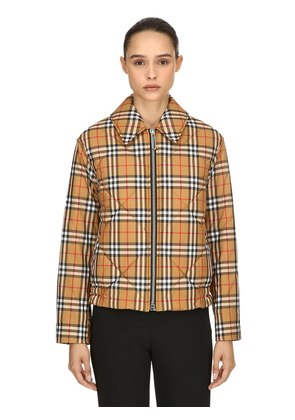 PADDED VINTAGE CHECK BOMBER JACKET