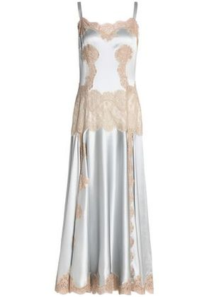 Dolce & Gabbana Woman Lace-paneled Silk-blend Satin Midi Dress Sky Blue Size 42