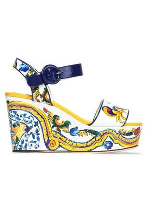 Dolce & Gabbana Woman Printed Patent-leather Platform Wedge Sandals Yellow Size 35.5