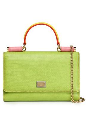 Dolce & Gabbana Woman Color-block Textured-leather Phone Case Lime Green Size -