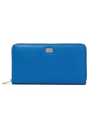 Dolce & Gabbana Woman Textured-leather Wallet Blue Size -