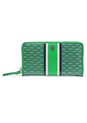 Tory Burch Woman Printed Coated Canvas Wallet Green Size -