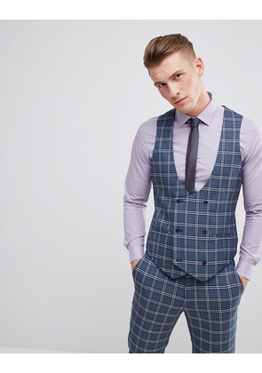 ASOS DESIGN Wedding Skinny Suit Waistcoat In Blue And White Check - Blue