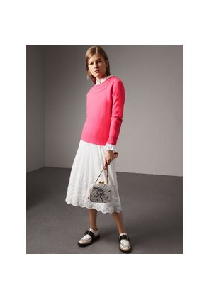 Burberry Embroidered Cotton Silk Voile Skirt, Size: 02