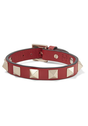 Valentino - Valentino Garavani The Rockstud Leather And Gold-tone Bracelet - Red