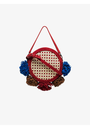 Mehry Mu multicoloured Tambourine straw and suede satchel bag