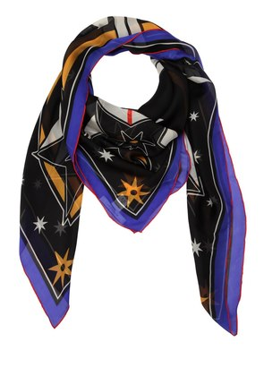 LIGHTENING PRINTED SILK CHIFFON SCARF