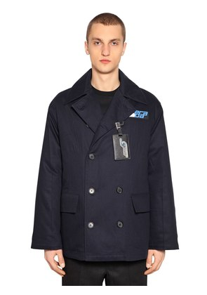 DOUBLE BREASTED TWILL PEACOAT