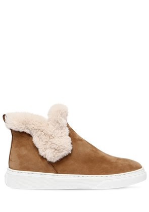 50MM SUEDE & FAUX SHEARLING SNEAKER BOOT