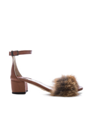 Brother Vellies Dhara Tufted Fox Fur Sandals in Brown