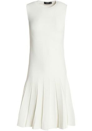 Calvin Klein Collection Woman Whitney Pleated Ponte Dress Ivory Size L