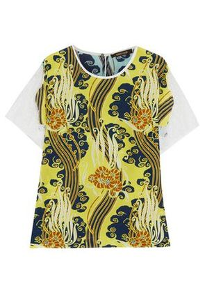 Roberto Cavalli Woman Lace-trimmed Printed Silk Crepe De Chine T-shirt Yellow Size 40