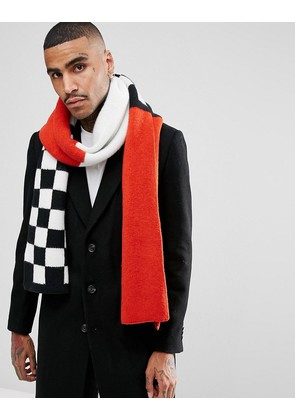 ASOS Knitted Scarf In Red With Checkerboard - Black/burgundy
