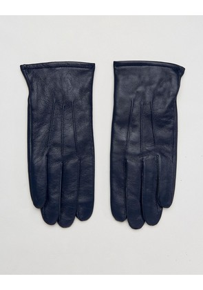 ASOS Leather Gloves In Navy - Navy