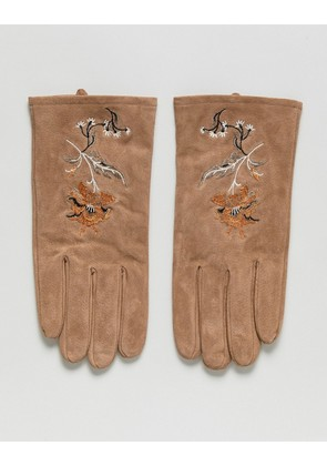 ASOS Suede Gloves In Tan With Embroidery - Tan