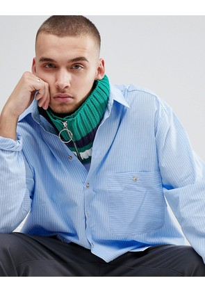 ASOS Knitted Snood In Green With Stripe And Ring Zip Pull - Green
