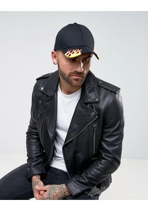 ASOS Baseball Cap in Black with Flame Embroidery To Peak - Black