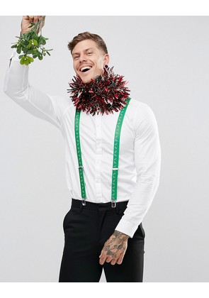 ASOS Christmas Braces With Candy Cane Print In Green - Green