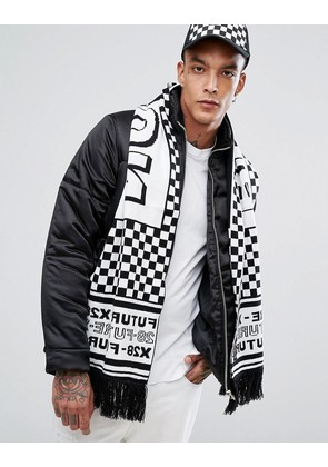 ASOS Knitted Football Scarf In Black & White Checkerboard - Black