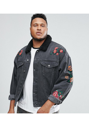 ASOS PLUS Denim Jacket With Embroidery & Borg Collar In Black Wash - Black