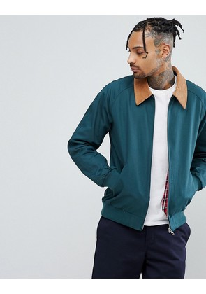 ASOS Harrington Jacket with Cord Collar in Bottle Green - Bottle green