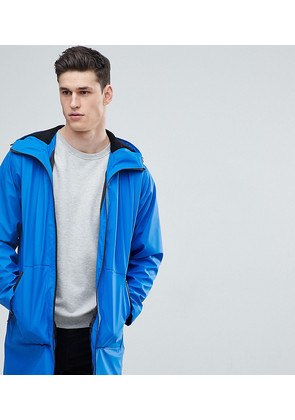 ASOS TALL Shower Resistant Rain Coat With Borg Lined Hood In Blue - Blue