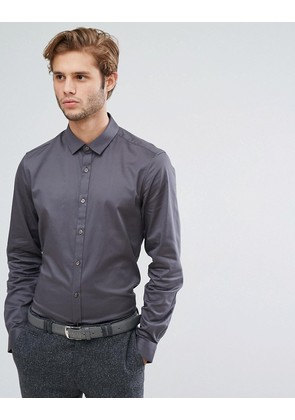 ASOS Wedding Slim Fit Sateen Shirt In Charcoal - Charcoal