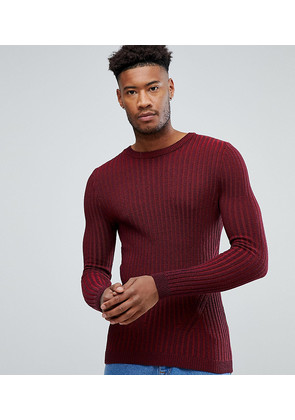 ASOS TALL Muscle Fit Ribbed Jumper In Burgundy - Burgundy