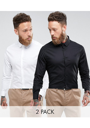 ASOS Skinny Shirt 2 Pack In White and Black SAVE - Multi