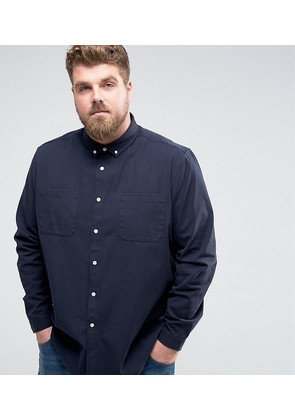 ASOS PLUS Canvas Overshirt In Navy - Navy