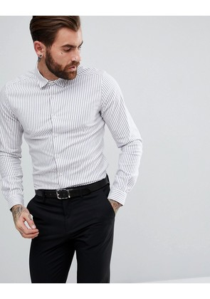 ASOS Smart Stretch Slim Twill Stripe Shirt In Navy - Navy