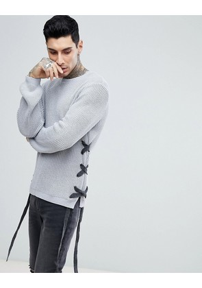 ASOS Textured Lace Up Jumper With Eyelets In Charcoal - Charcoal