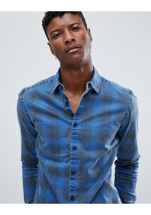 ASOS DESIGN stretch slim denim check shirt - Blue