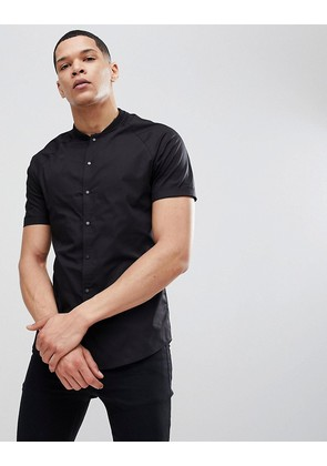 ASOS Skinny Shirt With Baseball Collar In Black - Black