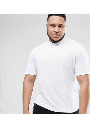 ASOS PLUS Knitted Muscle Fit Polo In White - White