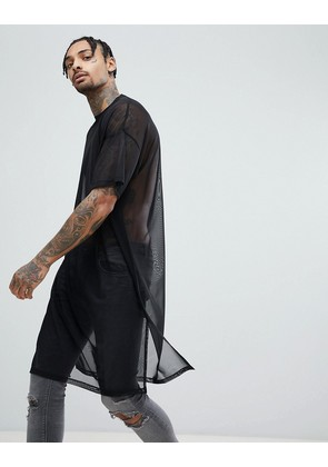 ASOS DESIGN extreme longline t-shirt in black mesh with side splits - Black