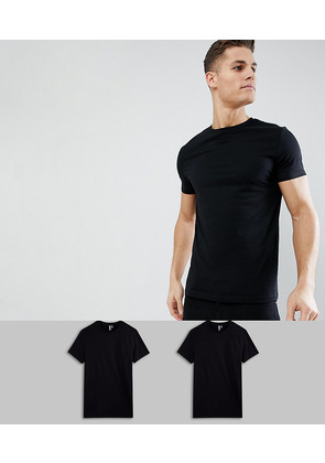 ASOS DESIGN t-shirt with crew neck 2 pack SAVE - Black