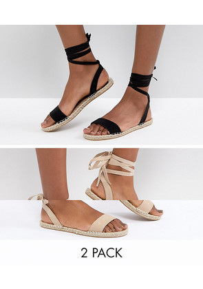 ASOS JENICA Two Pack Espadrille Sandals - Black/taupe