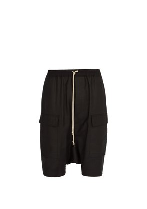 Dropped-crotch cotton-blend shorts