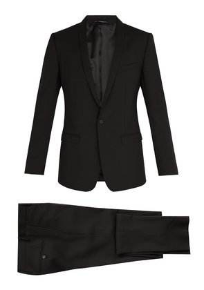 Gold-fit shawl lapel stretch-wool suit